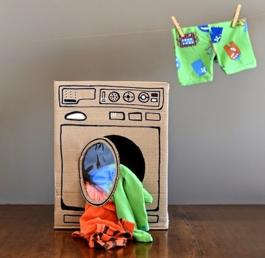 Make a laundry room with recycle boxes
