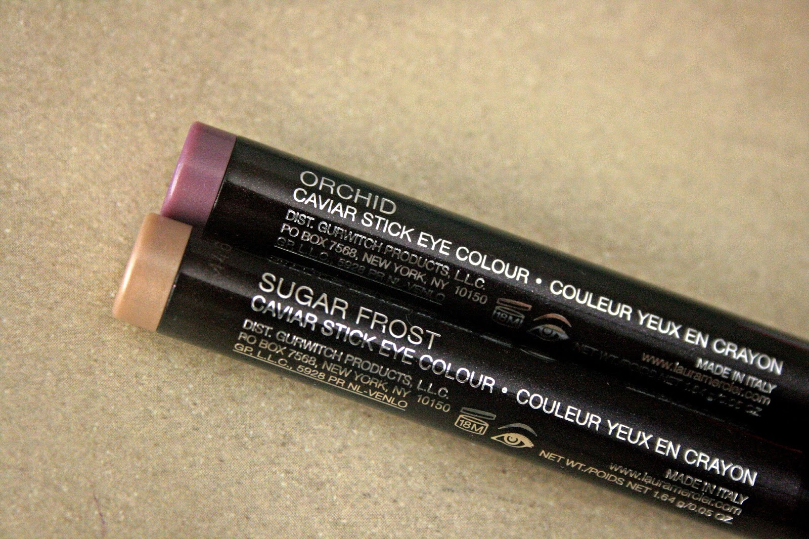 Laura Mercier Caviar Stick Eye Colors in Orchid & Sugar Frost