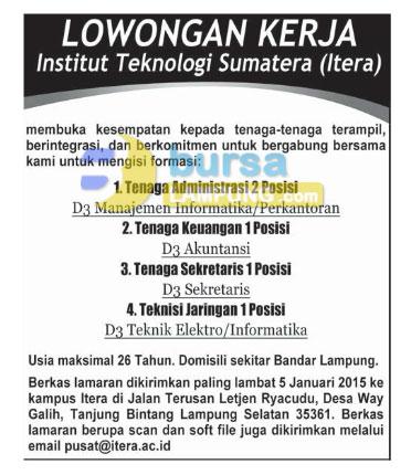 Lowongan Kerja Lampung, Sabtu 27 Desember 2014 - Institut Teknologi Sumatera (ITERA)