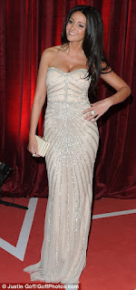 British Soap Awards, Coronation Street, Embellished, Gown, Light Pink, Maxi Dress, Metallic, Michelle Keegan, Nude, Rachel Gilbert, Silver, Strapless, Striped, Structured, Sweetheart Neckline