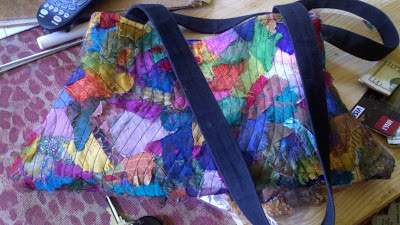 finished recycled sari silk bag