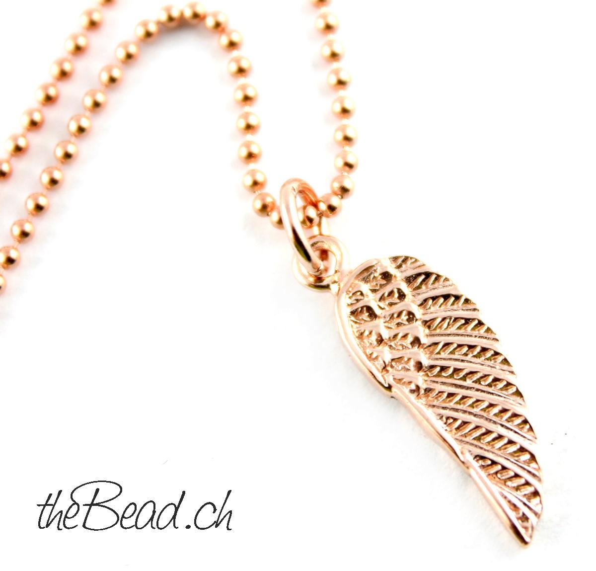 Flügel Halskette in Rosegold beim Onlineshop www.theBead.ch