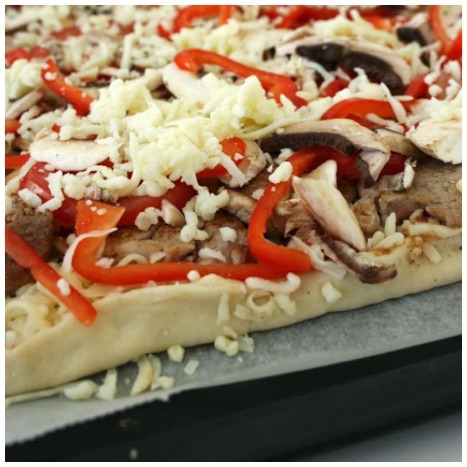 Pizza med fläskfilé