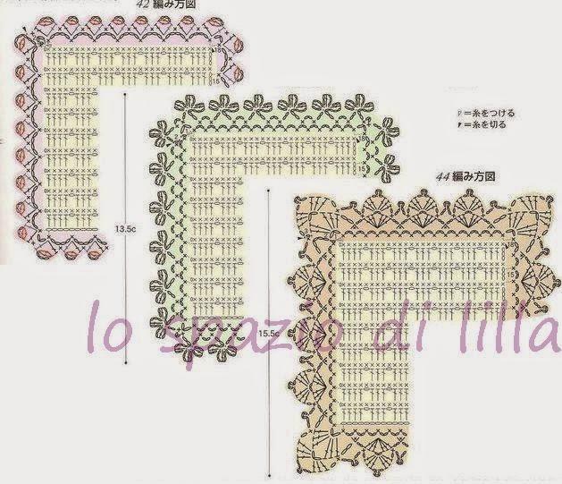 Lo spazio di lilla schemi di bordi crochet con angoli utili per copertine e tovagliette - Disegni punto croce per tovaglie da tavola ...
