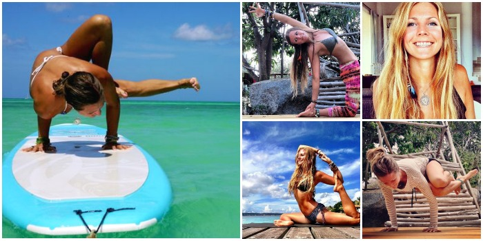 Yoga girl, Rachel Bråthen, Instagram.  It is famous for being the first person to translate the yoga mat to paddle surf board