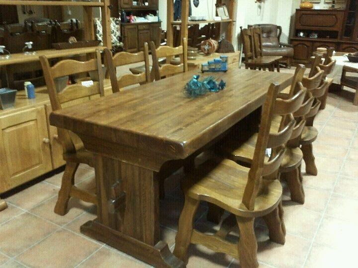 De madera maciza mesas y sillas for Mesa y sillas madera