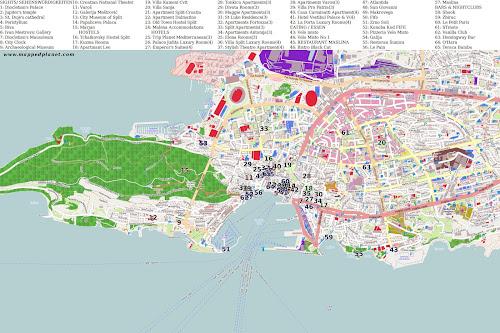 Mapa de Split – Croácia