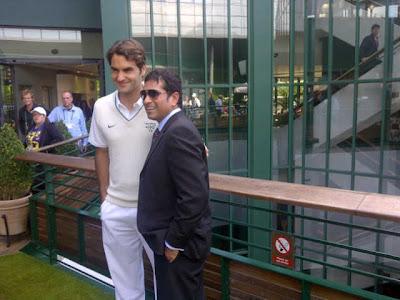 Sachin Tendulkar meets Roger Federer at Wimbledon