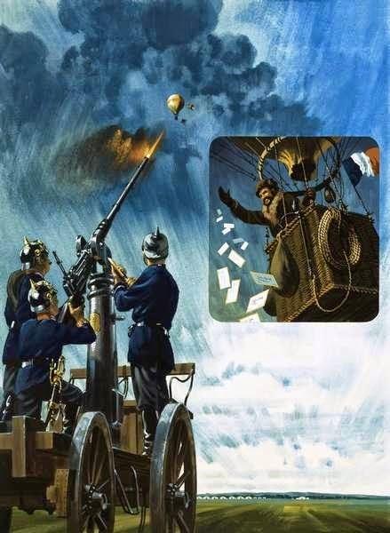 La Canon-ballon prussien (peinture de Wilf Hardy)