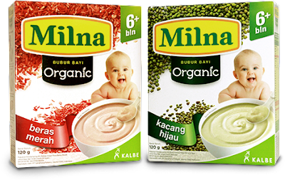 Milna Bubur Bayi Organik Rasa Beras Merah dan Kacang Hijau
