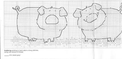 Gráficos de ponto cruz para cozinha - porquinhos