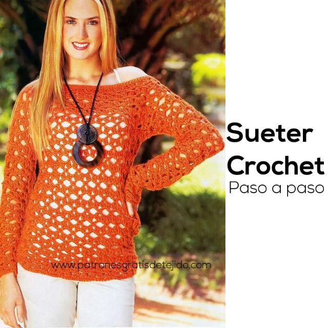 Suéter Calado Crochet / Paso a paso | Crochet y Dos agujas ...