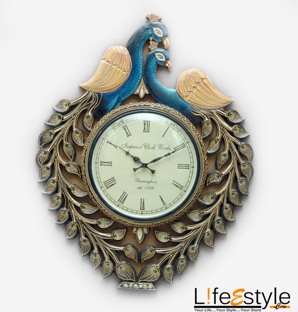 Carved peacock shape hand painted wall clock le