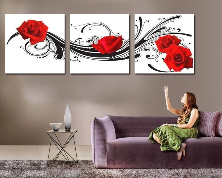 intercontinental home and garden modern wall art decor 3 piece red rose flower picture printed. Black Bedroom Furniture Sets. Home Design Ideas