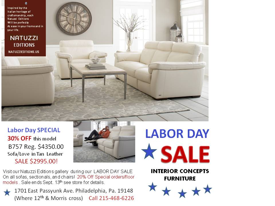 Natuzzi leather sofas sectionals by interior concepts for Labor day couch sale
