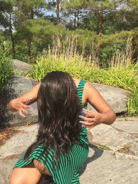Striped dress, green stripes dress, Happiness Boutique review, beautiful healthy hair, Indian hair