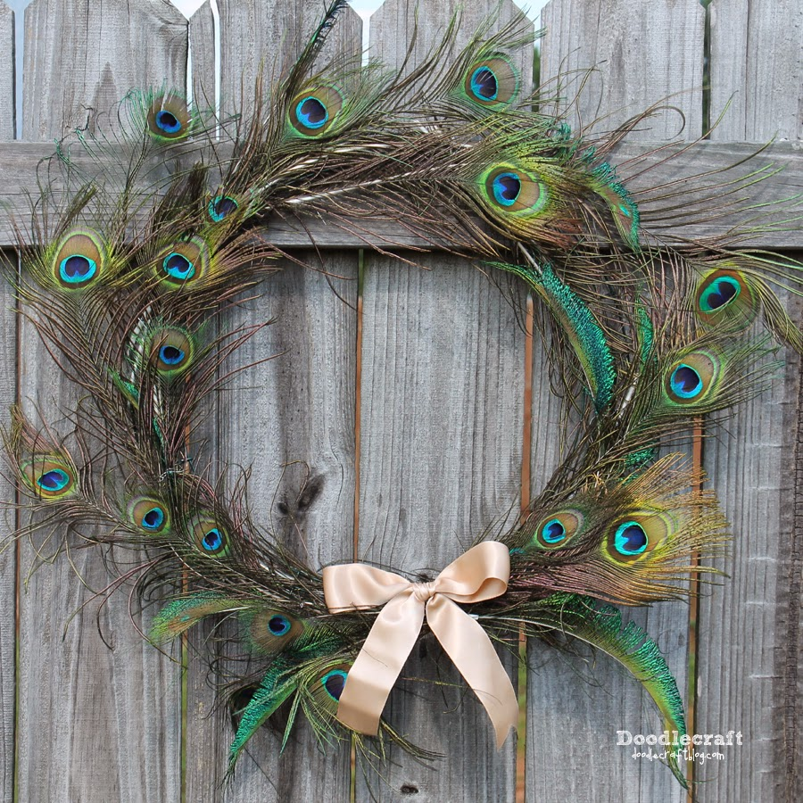 Doodlecraft peacock feather wreath for Where can i buy feathers for crafts