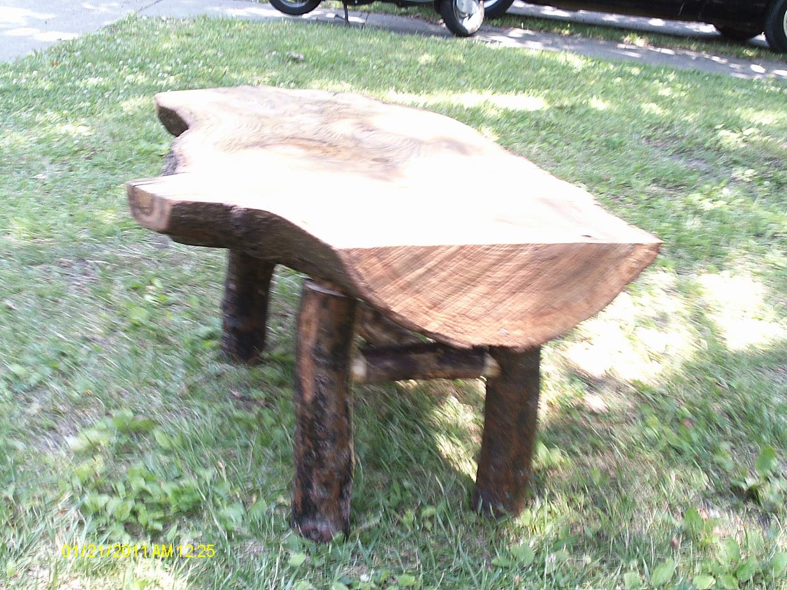 Rustic coffee tables unique and handmade from the log - Oak Log Bench And Coffee Table
