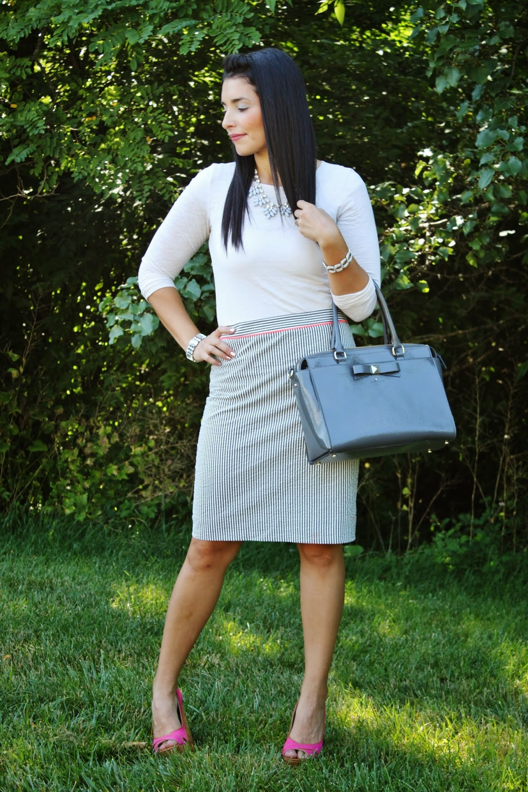 my simple modest chic summer striped pencil skirt