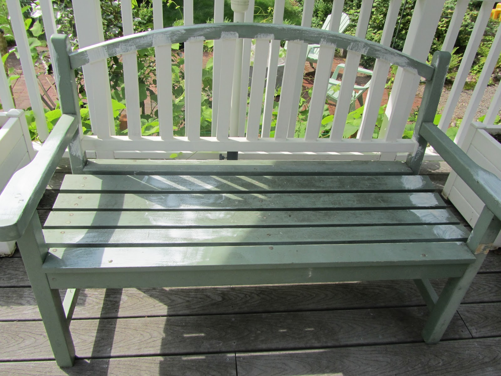 Creative savv painting the garden bench for Painted outdoor benches
