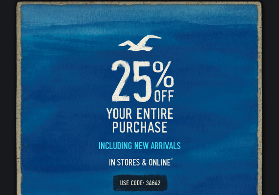 picture relating to Hollister Printable Coupon identify 25% Off Hollister Promo Code + Totally free Transport upon $75 Orders