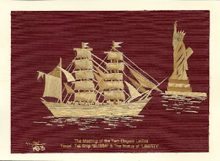Texas Tallship Elissa on leaf art Handmade signed  by Museumshop