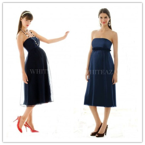 strapless-empire-a-line-tea-length-maternity-bridesmaid-dress