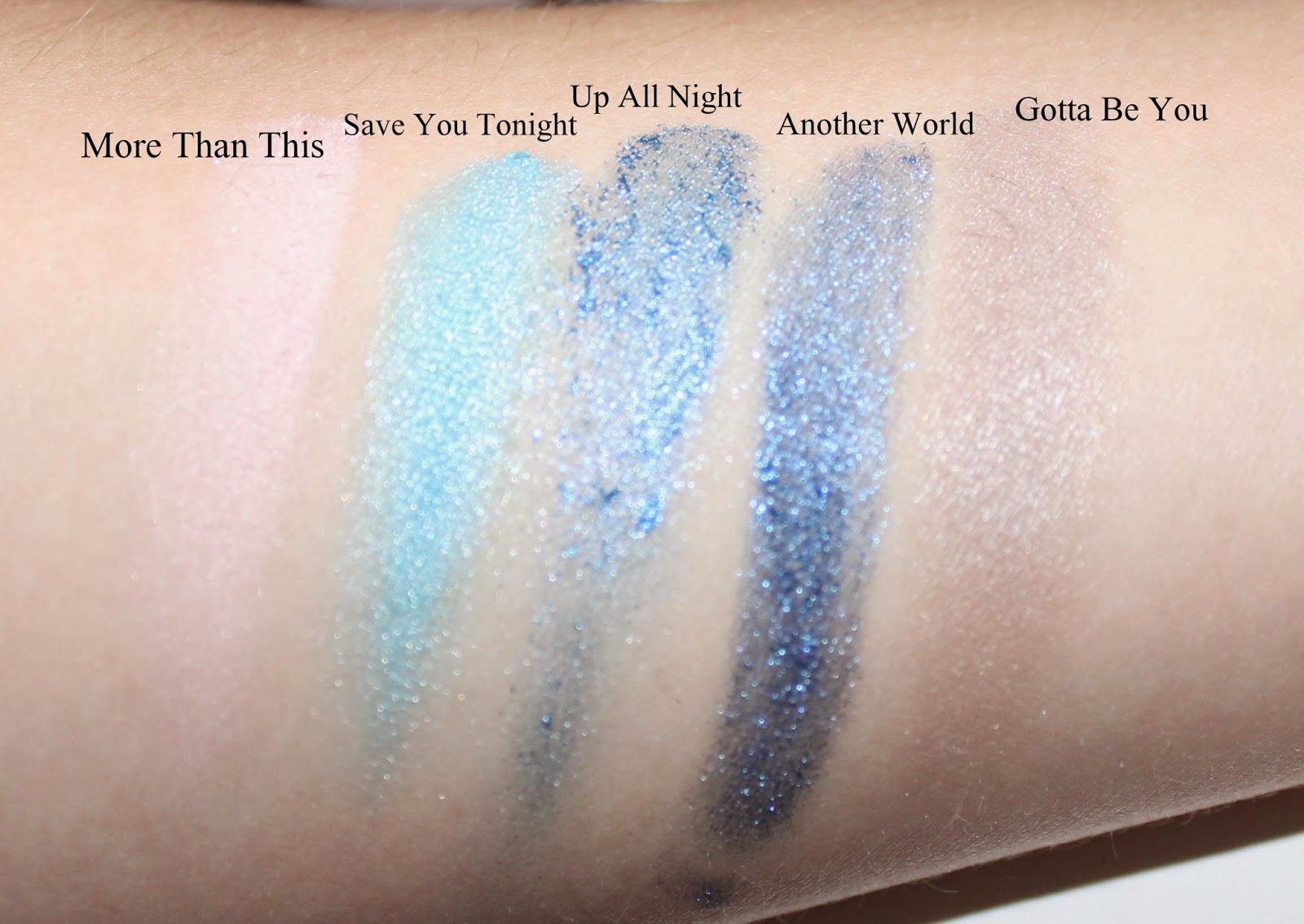 Make Up by One Direction Up All Night Eyeshadow Swatches