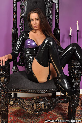 Marta Black and Purple Latex Dress and Stockings