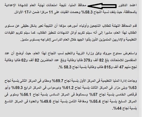 ننشر نتيجة الشهاده الاعداديه محافظة المنيا 2014 الترم الثانى