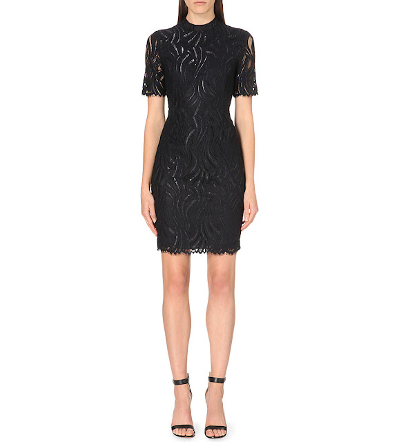 reiss bellini black dress, high neck black lace dress,
