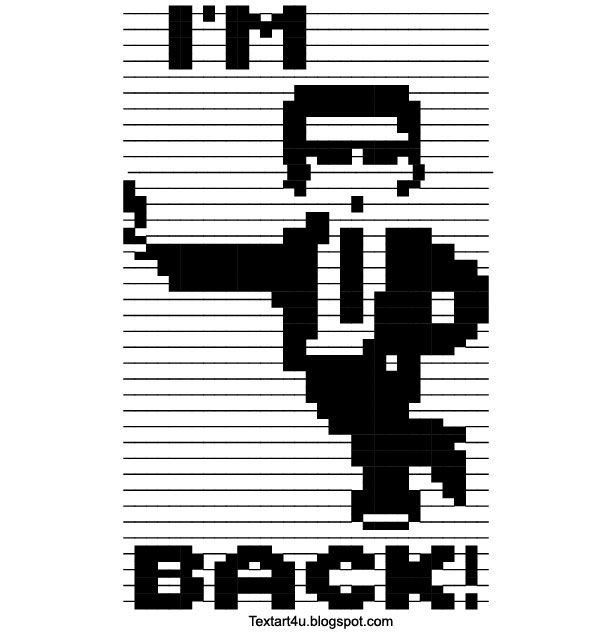 Cool Line Designs Copy And Paste : Quot i m back text art cool ascii u