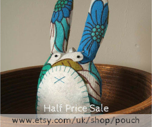I'm having a sale! Save 50% on all my vintage fabric peg bags, lavender sachet owls and rabbits