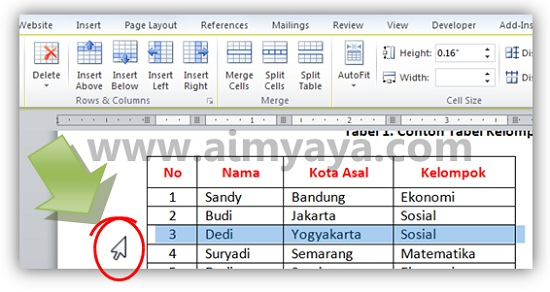 Gambar: Cara memilih baris tabel microsoft word 2010 yang akan dihapus