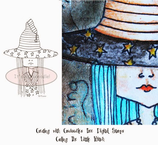 Creating with Crudoodles Free Digital Stamps - Carling The Little Witch