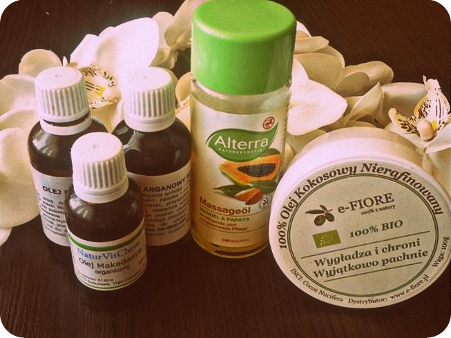zbiór olei kosmetycznych do olejowania włosów