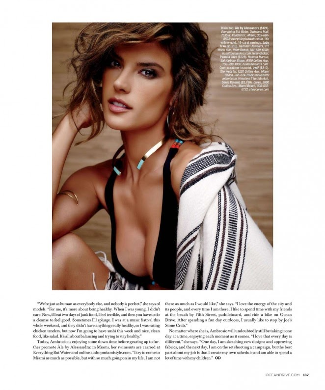 Alessandra Ambrosio bares skin for Ocean Drive Magazine's February 2015 issue