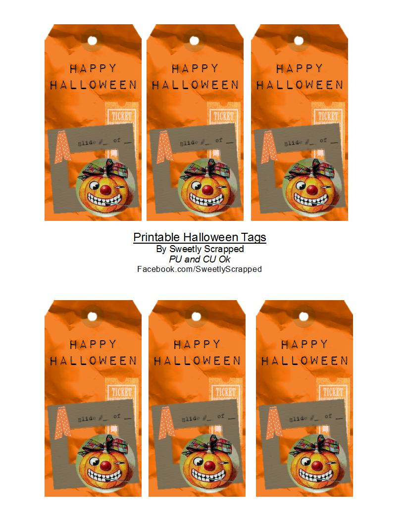 picture regarding Free Printable Halloween Tags referred to as Sweetly Sped: Joyful Halloween Tags - No cost Printable