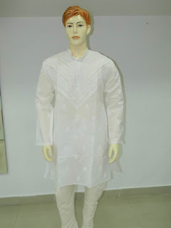 Lucknowi Chikan  Men Pure White Kurta Pijama