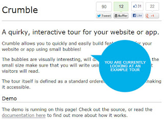 Crumble : jQuery plugin for interactive tour for your website or app
