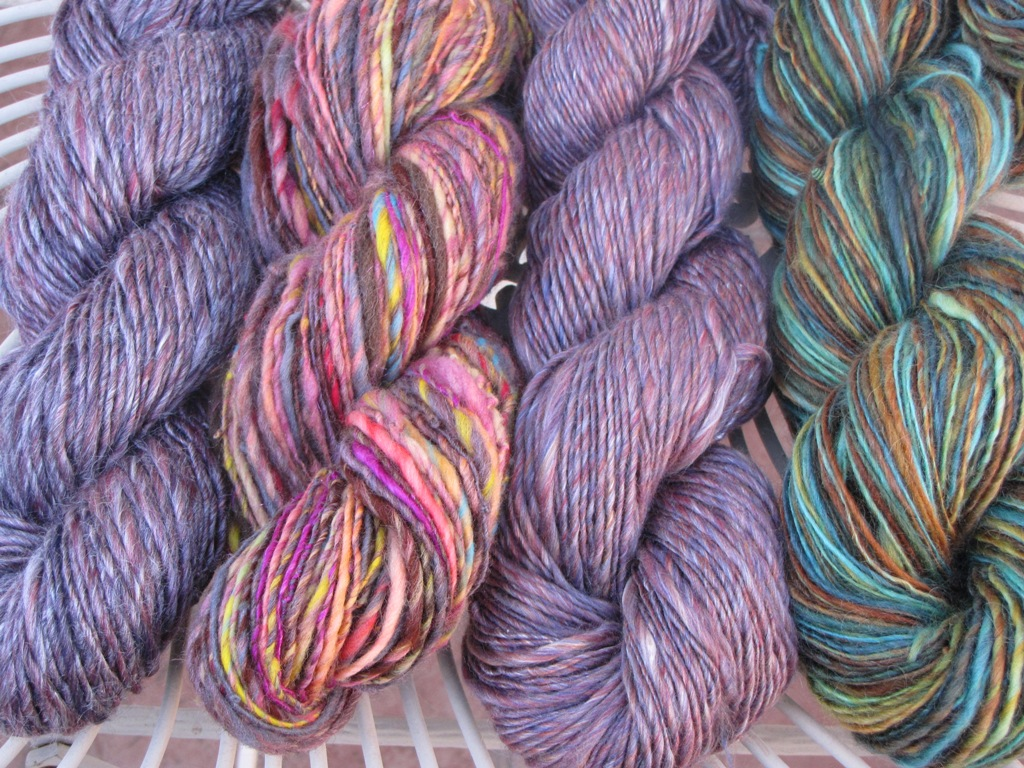 From left to right: Yak, Art Yarn (Merino silk sparkly), Merino Silk ...