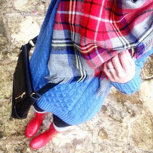 Plaid tartan gray red blue oversized balnket scarf