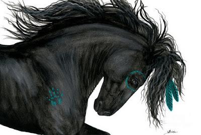Dibujos Acuarela Caballo Negro Amy Lyn