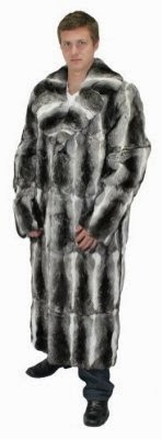 Bergama Mens Natural Genuine American Gangster Chinchilla Coat - 42 - Multicolor