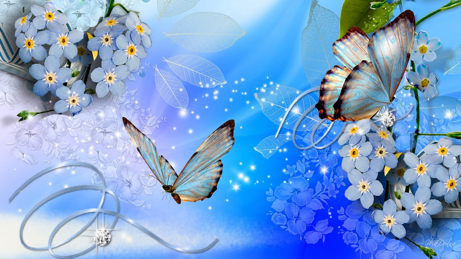 blue butterflies blue flowers wallpaper download - beautiful desktop