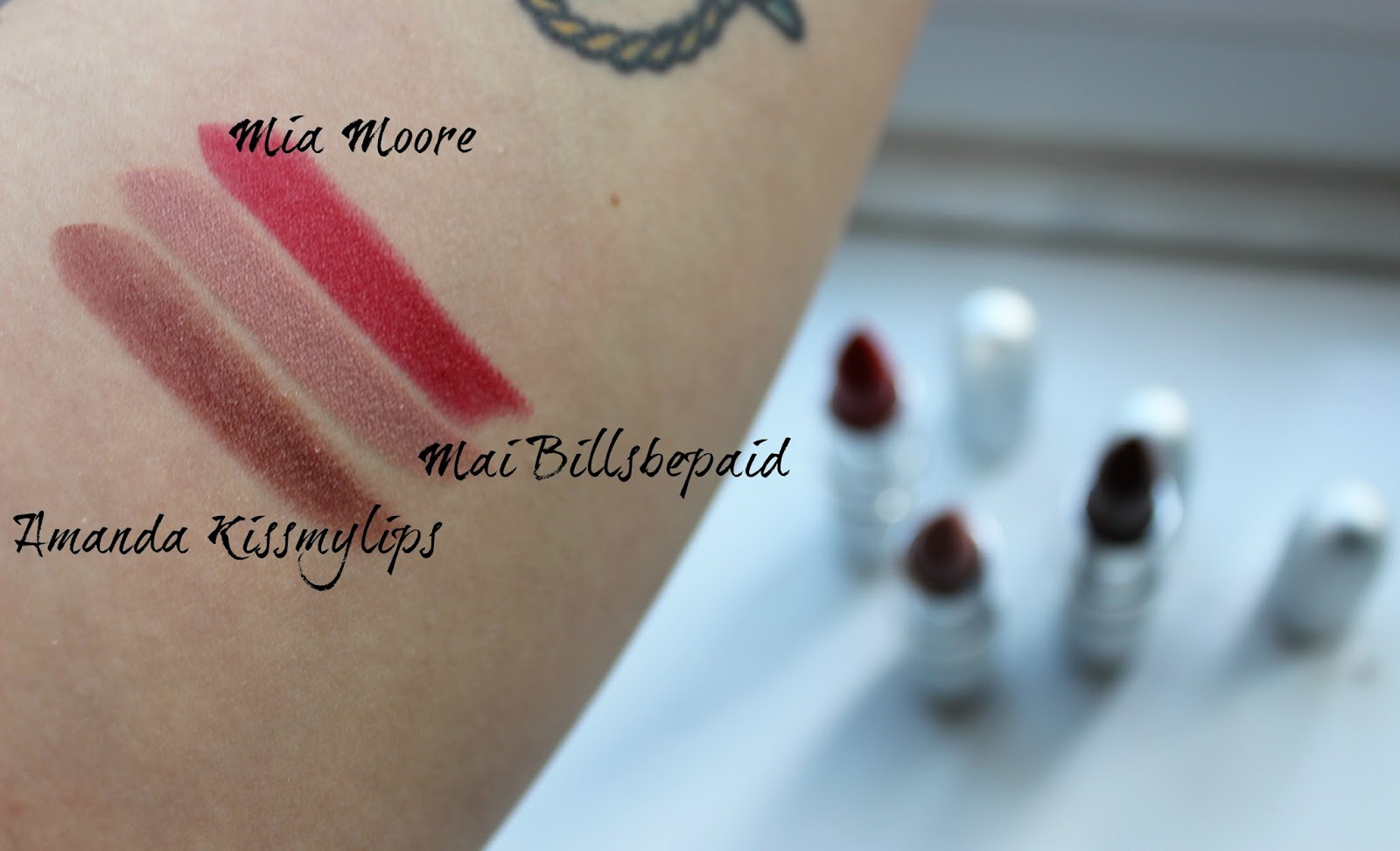 A picture of swatches of the theBalm Girls Lipstick in Amanda Kissmylips, Mia Moore and Mai Billsbepaid