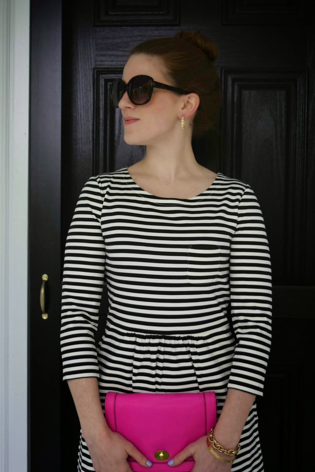 factory pocket dress in stripe - j.crew striped dress - black and white striped dress
