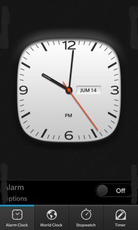 La aplicación de reloj nativa en BlackBerry 10 trae consigo muchas de las mismas características que hemos visto en BlackBerry en el pasado. Habrá un modo de reloj con los relojes del mundo, cronómetro, temporizador y alarma. Hemos visto un poco en el reloj en el pasado, me encanta el BlackBerry 10 porque es una de las aplicaciones nativas que lo más probable es que la utilicemos todos los días.Usted será capaz de ajustar la alarma, cambiar entre las funciones e incluso entrar en el modo de mesa de noche sin problemas. Fuente:crackberry