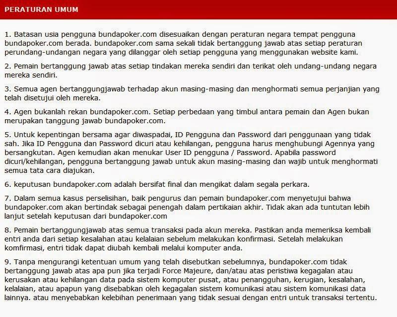 Peraturan BundaPoker.com
