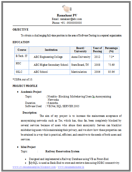 over 10000 cv and resume samples with free download  cv format for b tech